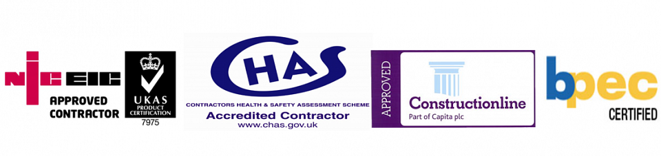 Logos: NICEIC, Construction Line, BPEC and CHAS